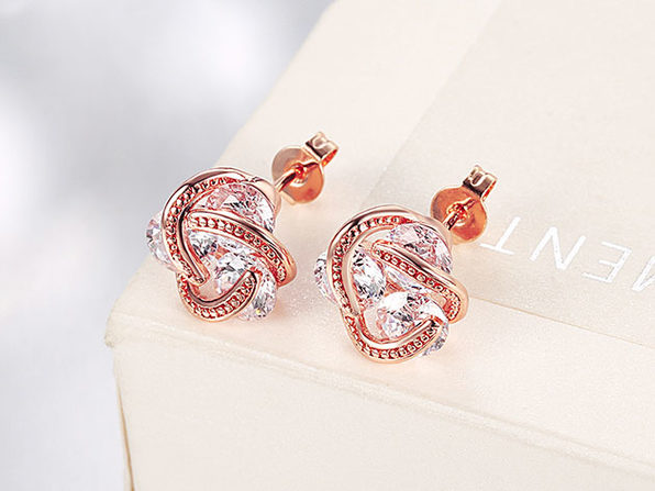 Knot Stud Earrings with Swarovski Crystal Set in 18K Rose Gold Plating