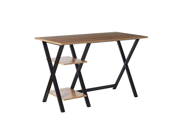 X-Leg Table Top Writing Desk with 2 Shelves