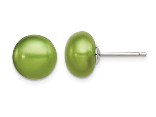 Green Freshwater Solitaire Cultured Pearl Earrings in Sterling Silver