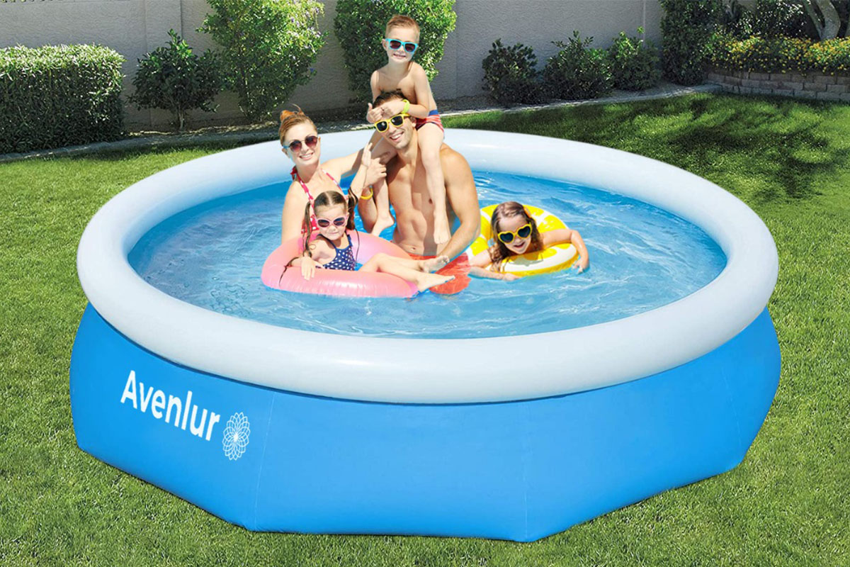 A family in an inflatable pool