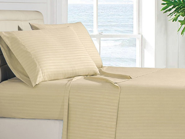 Luxury Ultra Soft 4-Piece Stripe Sheet Set (Vanilla/Queen)