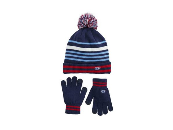 VINEYARD VINES Retro Stripe Pompom Chunky Knit Beanie and Gloves Set, One Size, Deep Bay - Product Image
