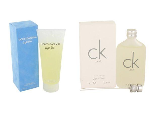 Gift set  Light Blue by Dolce & Gabbana Shower Gel 6.7 oz And  CK ONE EDT Pour/Spray (Unisex) 1.7 oz