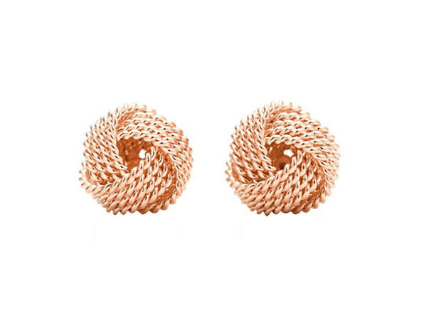 Mesh Twist Knot Stud Earrings Rose Gold - Product Image