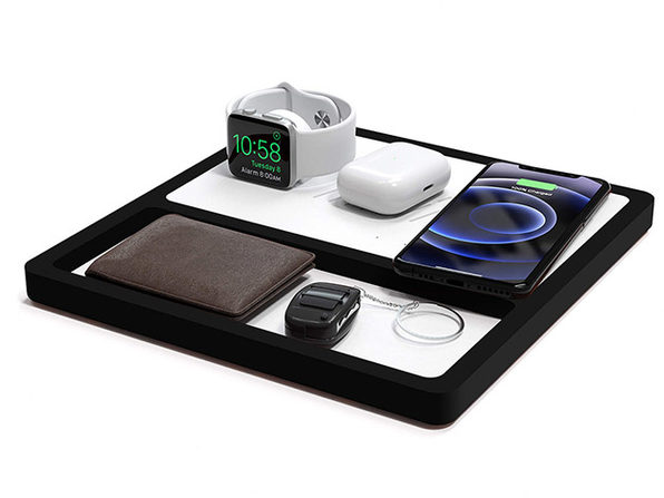 TRIO TRAY Wireless Charging Station (White Top/Black Base)
