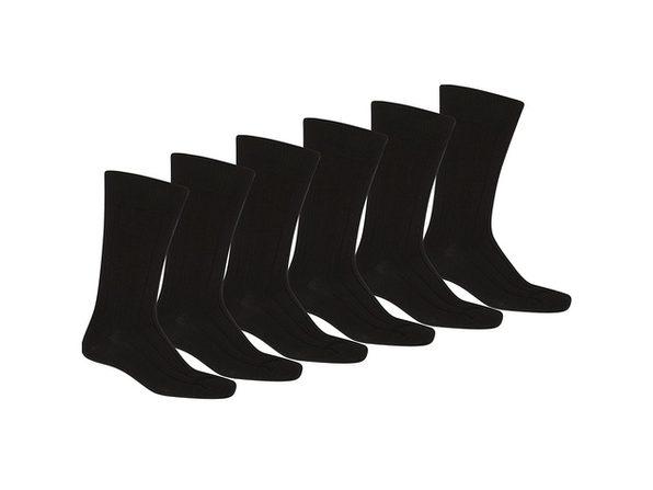 24 Pack of Men Black Solid Plain Dress Socks - Black