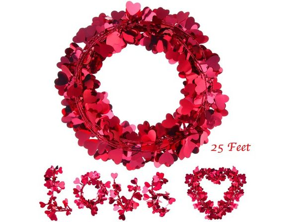 Homvare Heart Wire Garland 25 Feet for Valentine's Day Party Wedding Supply Home Decorations - Red - 1 Pack