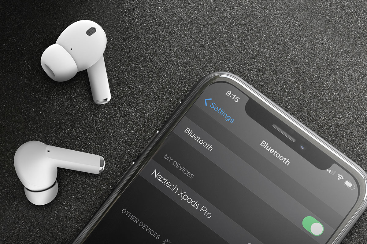 AirPods next to phone