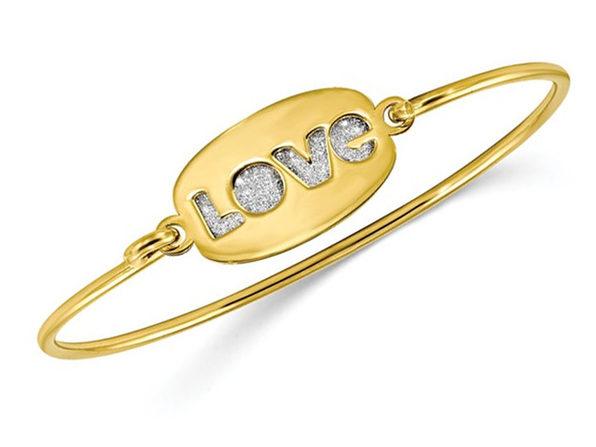 Sterling Silver Yellow Polished Glitter LOVE Bangle Bracelet