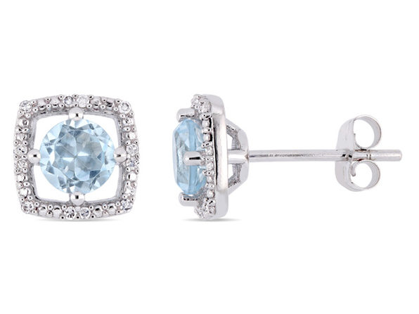 1.00 Carat (ctw) Blue Topaz Solitaire Halo Earrings in 10K White Gold with Diamonds