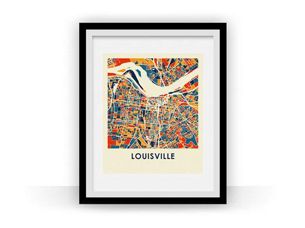 Louisville Prussian Color Map Prints