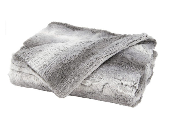 Sunbeam Faux Fur Electric Heated Throw Blanket TB16 Washable Auto Shut Off 3 Heat Settings - White Gray