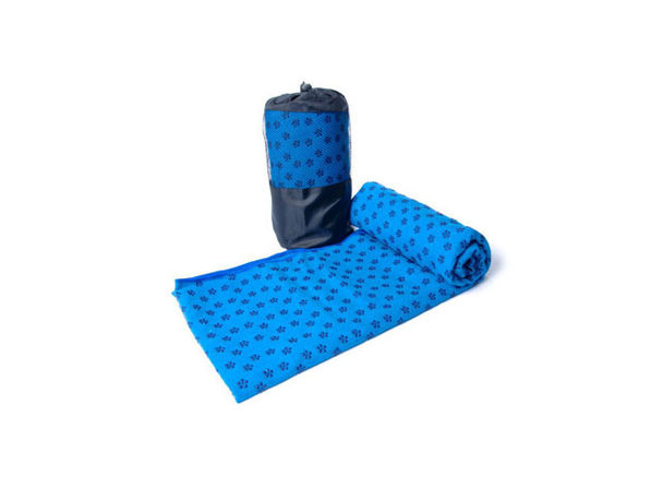 Non-Slip Yoga and Pilates Towels with Bag (Blue) - Product Image