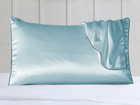 100% Silk Pillowcases with Trim: Set of 2 (Blue)