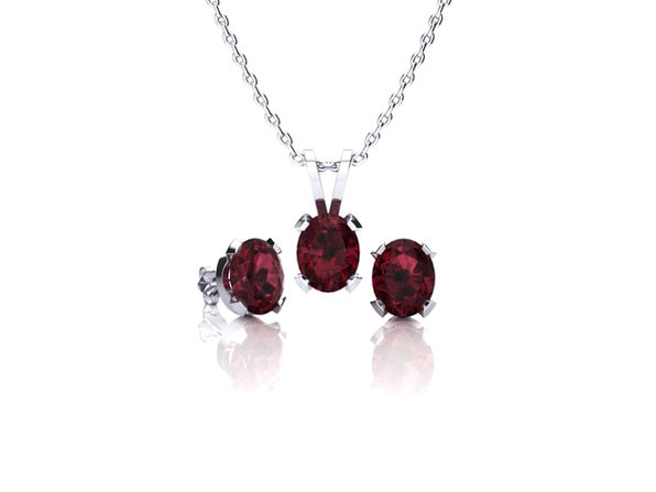 Oval Garnet Necklace & Earring Set In Sterling Silver