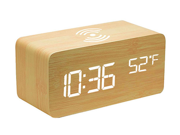 Qi Charging LED Wooden Alarm Clock - Ivory - Product Image