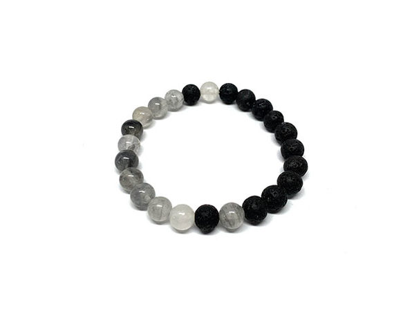 Balance Bracelet (Lava Rock & Cloud Quartz)