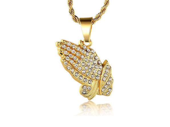 Iced Out Praying Hands 18K Gold Plated Necklace
