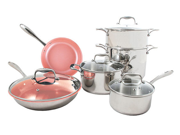 Concentrix 10-Piece Stainless Steel Cookware Set (Blush Pink)