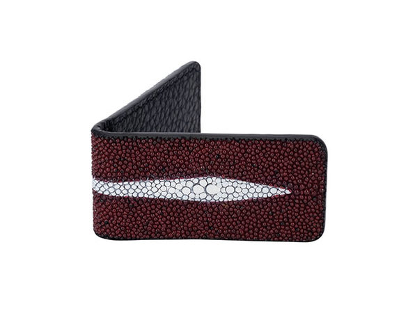 Andre Giroud Exotic Stingray Money Clip (Large/Burgundy)