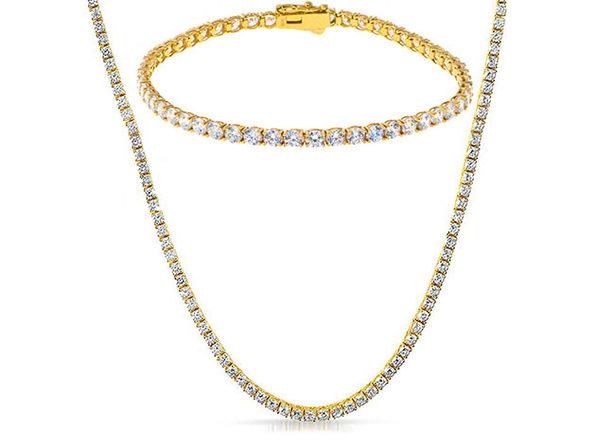 White Swarovski Crystals Stone Tennis Necklace & Tennis Bracelet 18K Gold Plated - Product Image