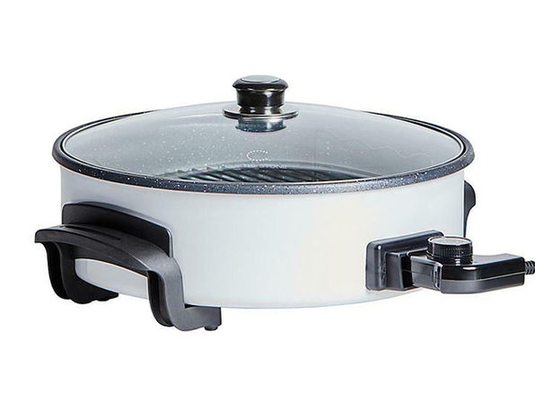 "Curtis Stone Dura-Electric Nonstick 14"" Rapid Skillet (White)"