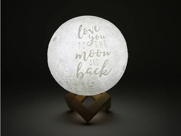 """Love You To The Moon And Back"" Original Moon Lamp (9.5"")"