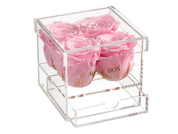 Rose Box™ 4-Rose Jewelry Box (Light Pink)