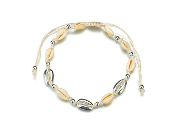 Ocean & Earth Cowrie Shell Statement Necklace (Silver)