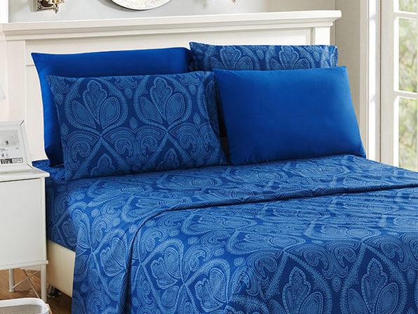 Paisley Sheet 4 Pcs Navy Blue - Twin - Product Image