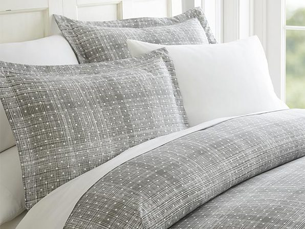Gray Polkadot Patterned 3-Piece Duvet Cover Set - Full/Queen - Product Image