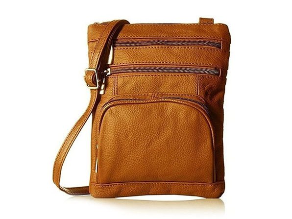 Ultra-Soft Leather Crossbody Bag - Light Brown - Product Image