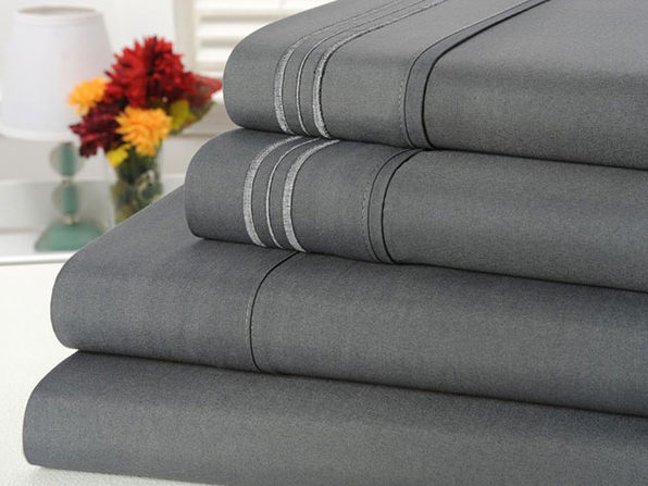 Bamboo Comfort 4 Piece Solid Sheet Sets- King- Gray - Product Image