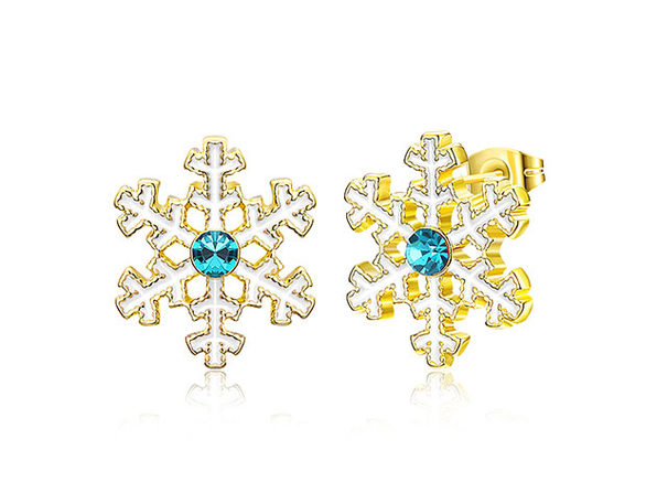 Snowflake Stud Earrings with Blue Swarovski