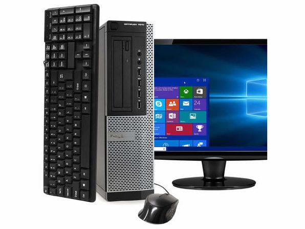 """Dell OptiPlex 7010 Desktop PC, 3.4 GHz Intel i7 Quad Core Gen 3, 8GB DDR3 RAM, 240GB SSD, Windows 10 Professional 64 bit, 22"""" Widescreen Screen (Renewed)"""