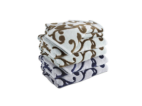 Provance Hotel Luxury Jacquard 5-Piece Towel Set In Aqua/Navy