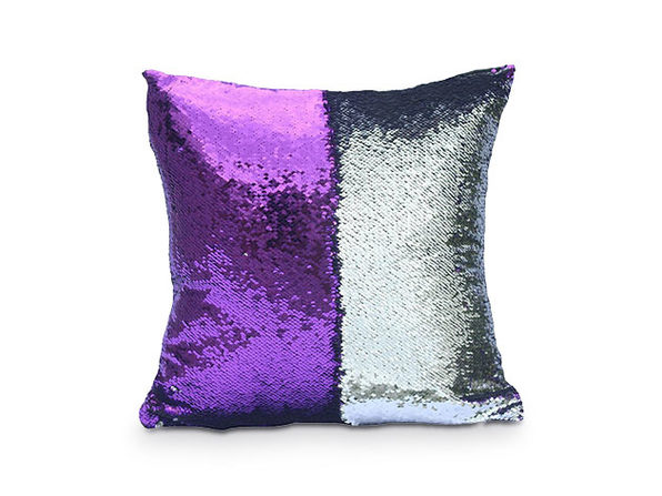 Sequin Pillow Cover-Purple/Silver - Product Image
