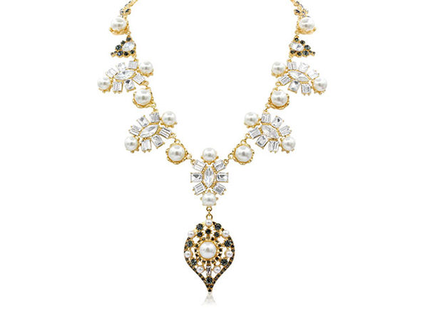 "Pearl and Crystal Statement Necklace By ""The Countess"" Luann de Lesseps"
