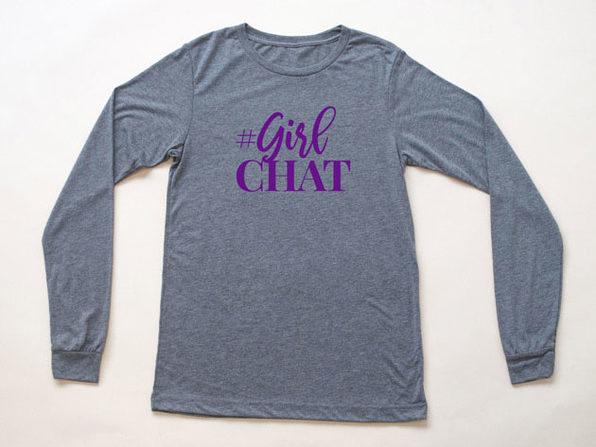Girl Chat Logo Heather Grey Long Sleeve Shirt-XL - Product Image