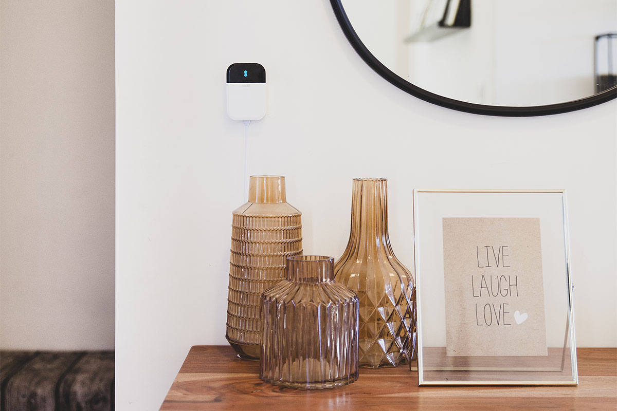 An entry table with vases on it, and a smart AC controller on the wall