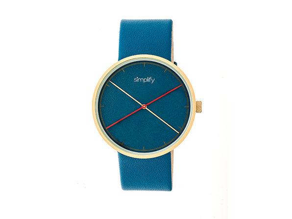 Simplify 4100 Unisex Watch (Blue/Gold)
